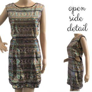 FOREVER 21 Sequin Bodycon Open Dress M